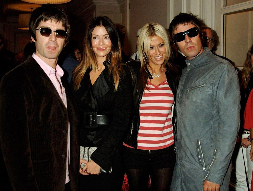 <p>Noel Gallagher and Sara MacDonald, his current wife whom he married in 2011, and Nicole Appleton and Liam Gallagher, who were together for many years and married from 2008 to 2014, arrive at The Q Awards in London on October 10, 2005.</p>