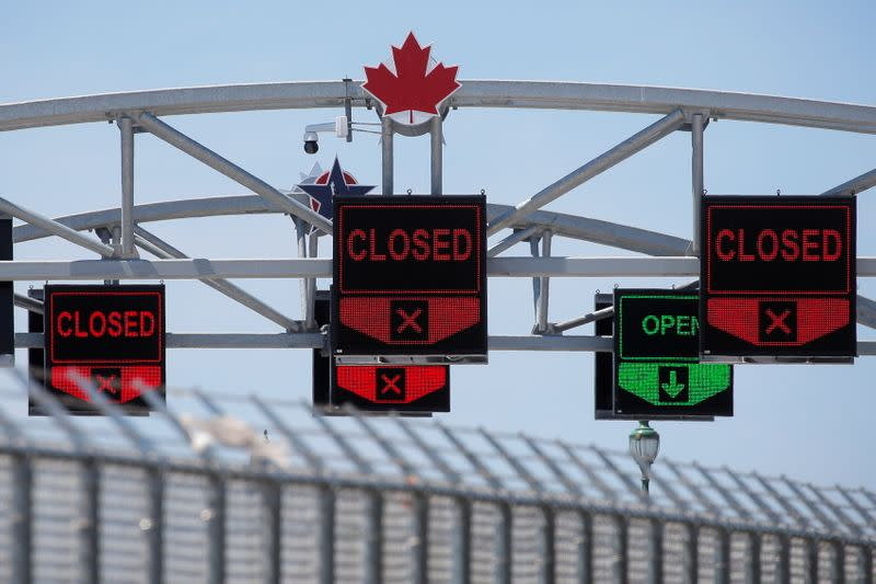 FILE PHOTO: A Canadian maple leaf is seen on The Peace Bridge, which runs between Canada and the United States, over the Niagara River in Buffalo, New York