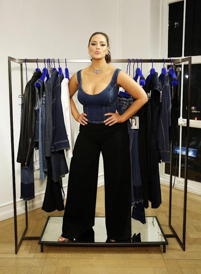 <p>Rocking a plunging denim tank with a pair black wide-leg pants, she posed at the launch of her capsule collection with Marina Rinaldi. (Photo: Getty Images) </p>