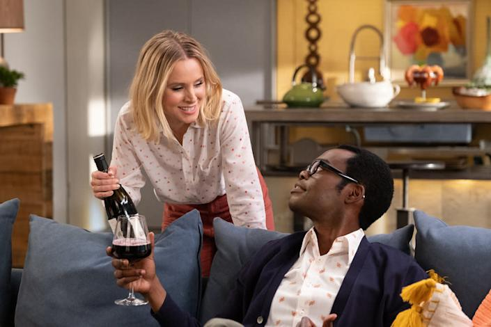 """THE GOOD PLACE -- """"Whenever You're Ready"""" Episode 413/414 -- Pictured: (l-r) Kristen Bell as Eleanor, William Jackson Harper as Chidi <span class=""""copyright"""">Colleen Hayes/NBC</span>"""