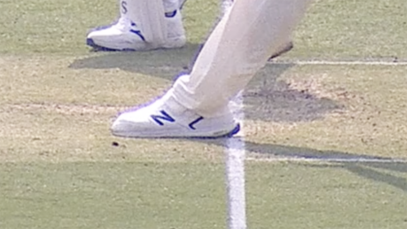 Replays showed Pat Cummins' foot, pictured, seemingly past the crease.
