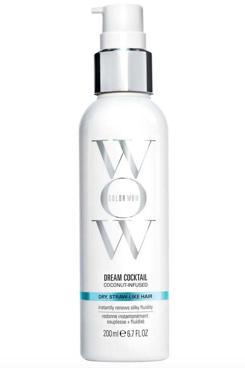 """<p><strong>COLOR WOW</strong></p><p>sephora.com</p><p><strong>$10.00</strong></p><p><a href=""""https://go.redirectingat.com?id=74968X1596630&url=https%3A%2F%2Fwww.sephora.com%2Fproduct%2Fcolor-wow-dream-cocktail-coconut-infused-hydrating-leave-in-treatment-P469070&sref=https%3A%2F%2Fwww.harpersbazaar.com%2Fbeauty%2Fhair%2Fg5620%2Fbest-leave-in-conditioners%2F"""" rel=""""nofollow noopener"""" target=""""_blank"""" data-ylk=""""slk:SHOP"""" class=""""link rapid-noclick-resp"""">SHOP</a></p><p>Thanks to the coconut oil, your hair will get much needed moisture as well as any repair to damage and breakage you might have. It also contains keratin to help strengthen strands and protect it from heat. </p>"""