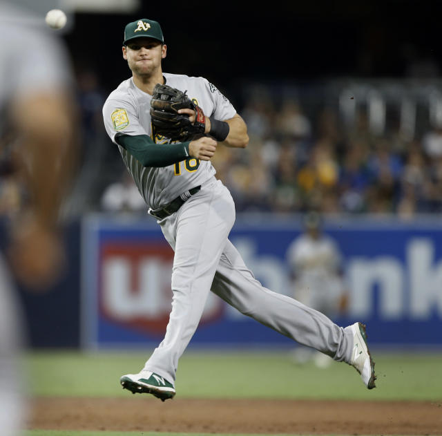Oakland Athletics second baseman Chad Pinder throws out San Diego Padres' Eric Hosmer at first, on an infield ground ball, during the third inning of a baseball game in San Diego, Tuesday, June 19, 2018. (AP Photo/Alex Gallardo)
