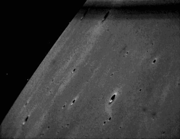 NASA's Lunar Atmosphere and Dust Environment Explorer (LADEE) observatory successfully downlinked images of the moon and stars taken by onboard camera systems, known as star trackers. The image shown here was acquired on Feb. 8, 2014.