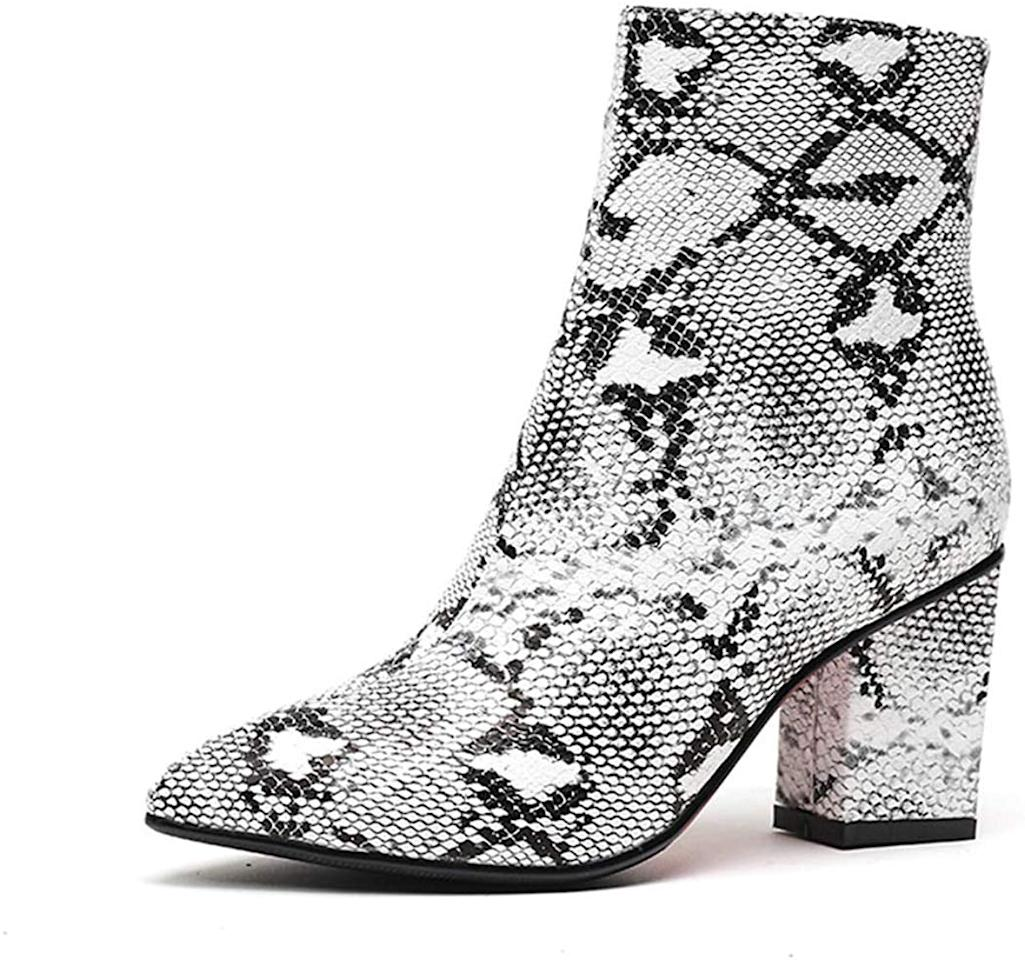 """<p>These <product href=""""https://www.amazon.com/Fashion-Women-Ankle-Bootie-Winter/dp/B07G8ZVZQV/ref=sr_1_6?dchild=1&amp;keywords=snake%2Bboots%2Bwomen&amp;qid=1570644213&amp;sr=8-6&amp;th=1&amp;psc=1"""" target=""""_blank"""" class=""""ga-track"""" data-ga-category=""""internal click"""" data-ga-label=""""https://www.amazon.com/Fashion-Women-Ankle-Bootie-Winter/dp/B07G8ZVZQV/ref=sr_1_6?dchild=1&amp;keywords=snake%2Bboots%2Bwomen&amp;qid=1570644213&amp;sr=8-6&amp;th=1&amp;psc=1"""" data-ga-action=""""body text link"""">Wetkiss Snake Ankle Boots </product> ($44) are a great deal.</p>"""