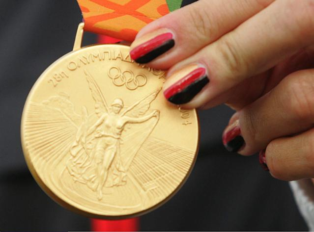 The front of a gold medal from the 2004 Athens Olympic Games. (Photo by Alexander Hassenstein/Bongarts/Getty Images)