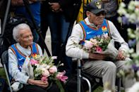 Survivors Viola Fletcher (L) and Hughes Van Ellis look on during a soil dedication ceremony for victims of the 1921 Tulsa Race Massacre, on the 100-year anniversary in Tulsa, Oklahoma