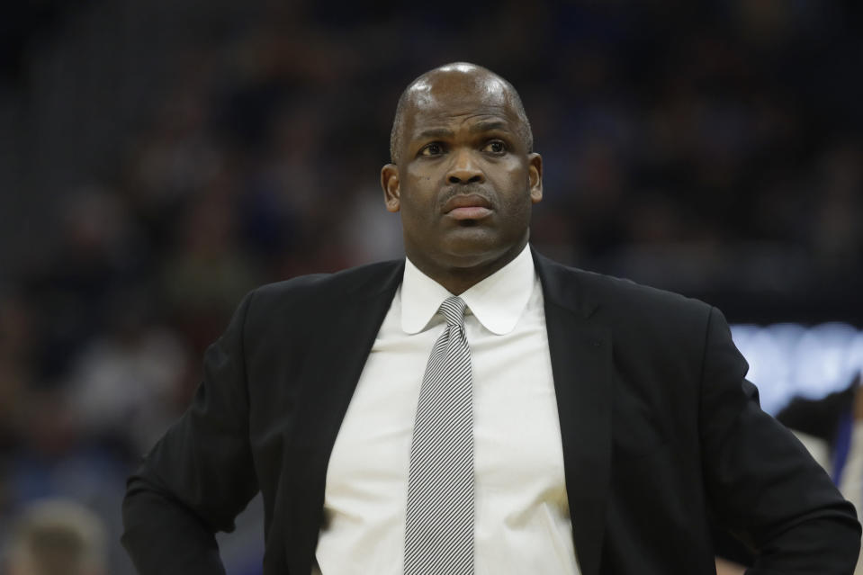 """Indiana Pacers head coach Nate McMillan duirng an NBA basketball game against the <a class=""""link rapid-noclick-resp"""" href=""""/nba/teams/golden-state/"""" data-ylk=""""slk:Golden State Warriors"""">Golden State Warriors</a> in San Francisco, Friday, Jan. 24, 2020. (AP Photo/Jeff Chiu)"""