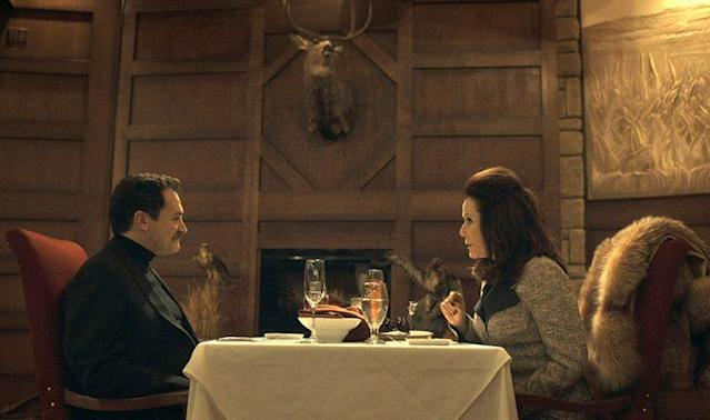 Michael Stuhlbarg as Sy Feltz and Mary McDonnell as Widow Goldfarb in FX's 'Fargo' (Photo: FX)