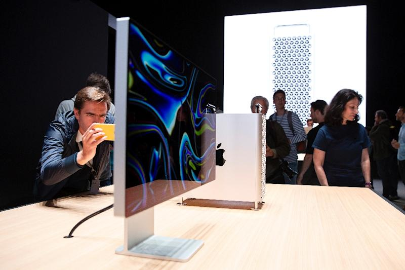 Apple unveiled a new Mac Pro high-performance desktop computer aimed at professionals, with a starting price of $5,999. (AFP Photo/Brittany Hosea-Small)