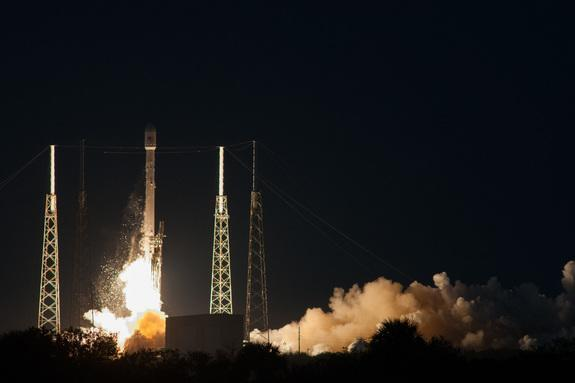 A SpaceX Falcon 9 v1.1 rocket launches the SES-8 commercial communications satellite into orbit from Cape Canaveral Air Force Station in Florida on Dec. 3, 2013. The mission is SpaceX's first commercial satellite launch into a geostationary tra