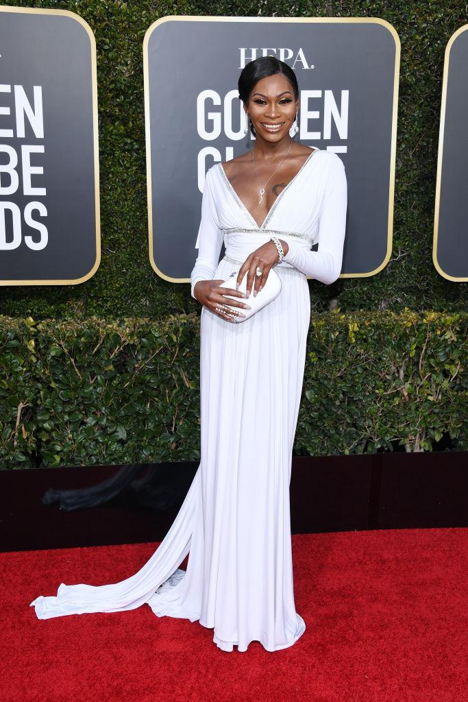 <p>Dominique Jackson attends the 76th Annual Golden Globe Awards at the Beverly Hilton Hotel in Beverly Hills, Calif., on Jan. 6, 2019. (Photo: Getty Images) </p>