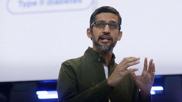 PHOTO: Google CEO Sundar Pichai speaks at the Google I/O conference in Mountain View, Calif., May 8, 2018. (Jeff Chiu/AP, FILE)