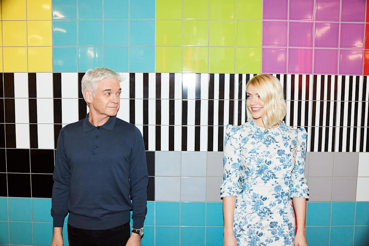 From ITV Daytime  THIS MORNING  Weekdays on ITV   Pictured: Holly Willoughby and Phillip Schofield   (C) ITV   Photographer Jon Gorrigan    For further information please contact Peter Gray Mob 07831460662 /  peter.gray@itv.com  This photograph is (C) ITV and can only be reproduced for editorial purposes directly in connection with the programme THIS MORNING  or ITV. Once made available by the ITV Picture Desk, this photograph can be reproduced once only up until the Transmission date and no reproduction fee will be charged. Any subsequent usage may incur a fee. This photograph must not be syndicated to any other publication or website, or permanently archived, without the express written permission of ITV Picture Desk. Full Terms and conditions are available on the website www.itvpictures.com