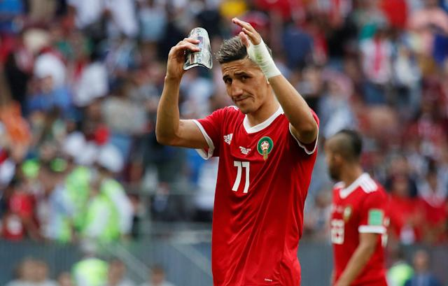 Soccer Football - World Cup - Group B - Portugal vs Morocco - Luzhniki Stadium, Moscow, Russia - June 20, 2018 Morocco's Faycal Fajr applauds fans after the match REUTERS/Maxim Shemetov