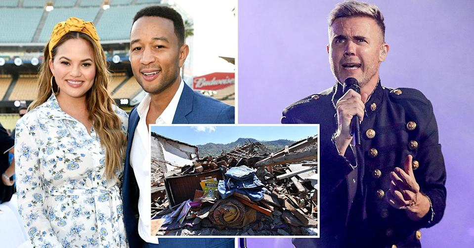Chrissy Teigen and Gary Barlow caught up in devastating Indonesian earthquake.