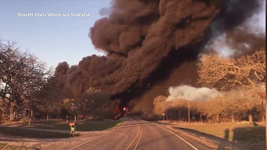An 18-wheeler and train collided in Milam County, Texas on Feb, 23. The crash led to several fuel tank cars derailing and catching fire.
