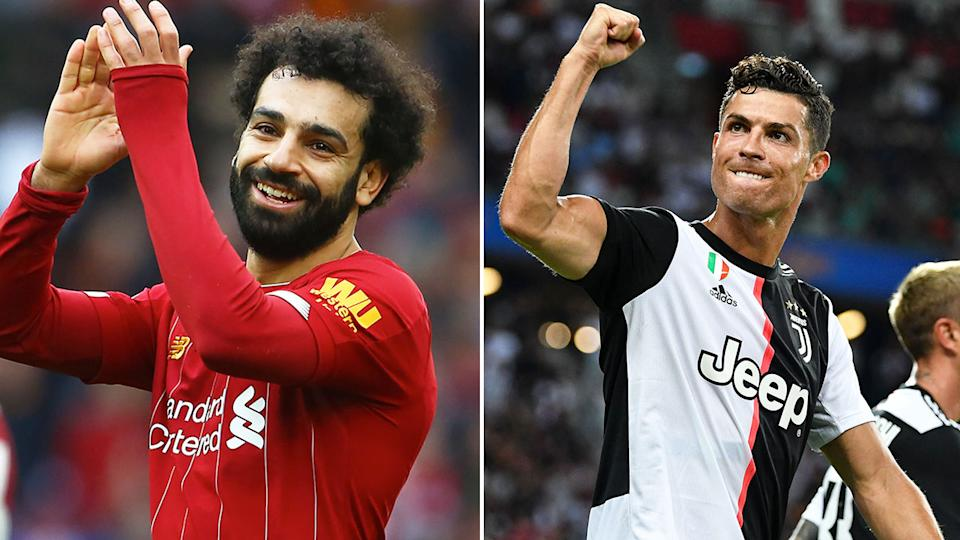 Pictured here, Liverpool's Mo Salah and Juventus superstar Cristiano Ronaldo.