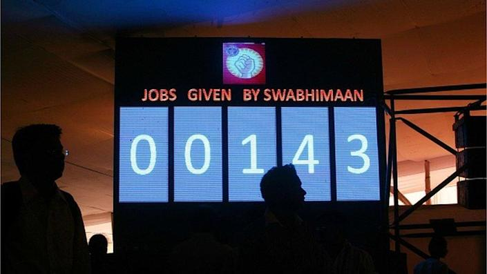 The number board which displays the number of jobs given to the applicants at The Job Fair organised by Swaabhimaan, NGO by Nitesh Rane on Wednesday at Kamgar Maidan,Lower Parel.