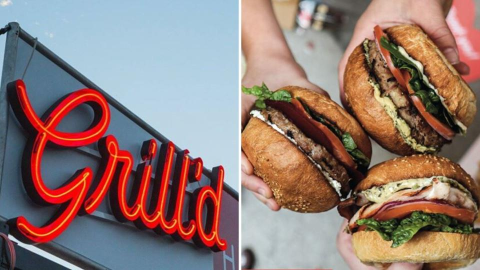 A Grill'd sign on the left and a trio of burgers on the right.