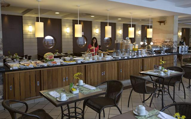 A view of the restaurant at the Mendes Plaza Hotel where Costa Rica's 2014 World Cup team will stay during the World Cup in Santos, Brazil, Wednesday, Feb. 12, 2014. (AP Photo/Andre Penner)