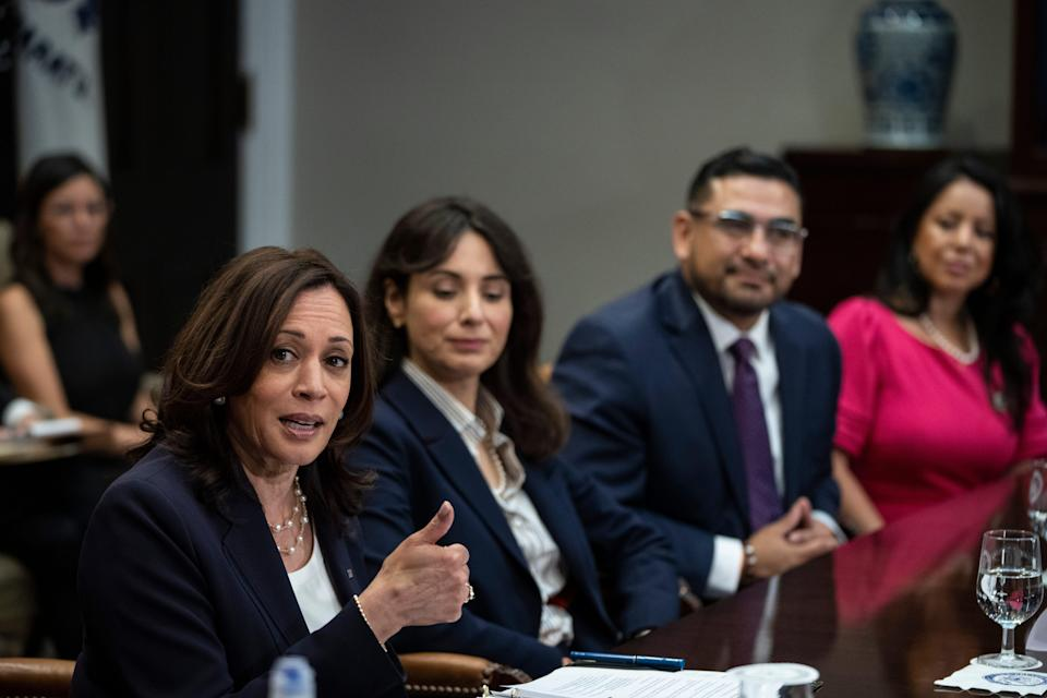 Vice President Kamala Harris met with Democratic members of the Texas Legislature in the Roosevelt Room of the White House June 16, 2021 in Washington DC. The lawmakers are pushing Congress to pass voting rights legislation. (Photo by Drew Angerer/Getty Images)