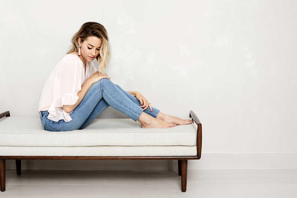 Lauren Conrad in a pink blouse and jeans from the LC Lauren Conrad collection with Kohl's. (Photo: Courtesy of LC Lauren Conrad/Kohl's)