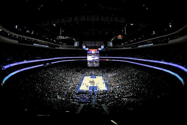 """A sellout crowd saw the 76ers face the Pistons on March 11 in Philadelphia, hours before the NBA season was put on hold. The league is in talks with Walt Disney Co. on a single-site scenario to resume play. <span class=""""copyright"""">(Matt Slocum / Associated Press)</span>"""