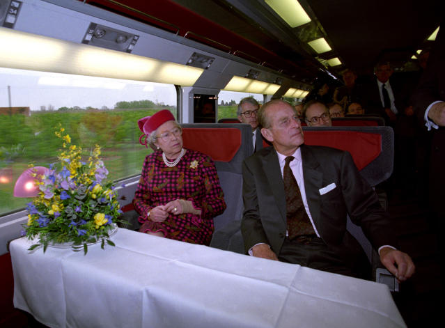 The pair on the new Eurostar train in 1994 (Picture: PA)