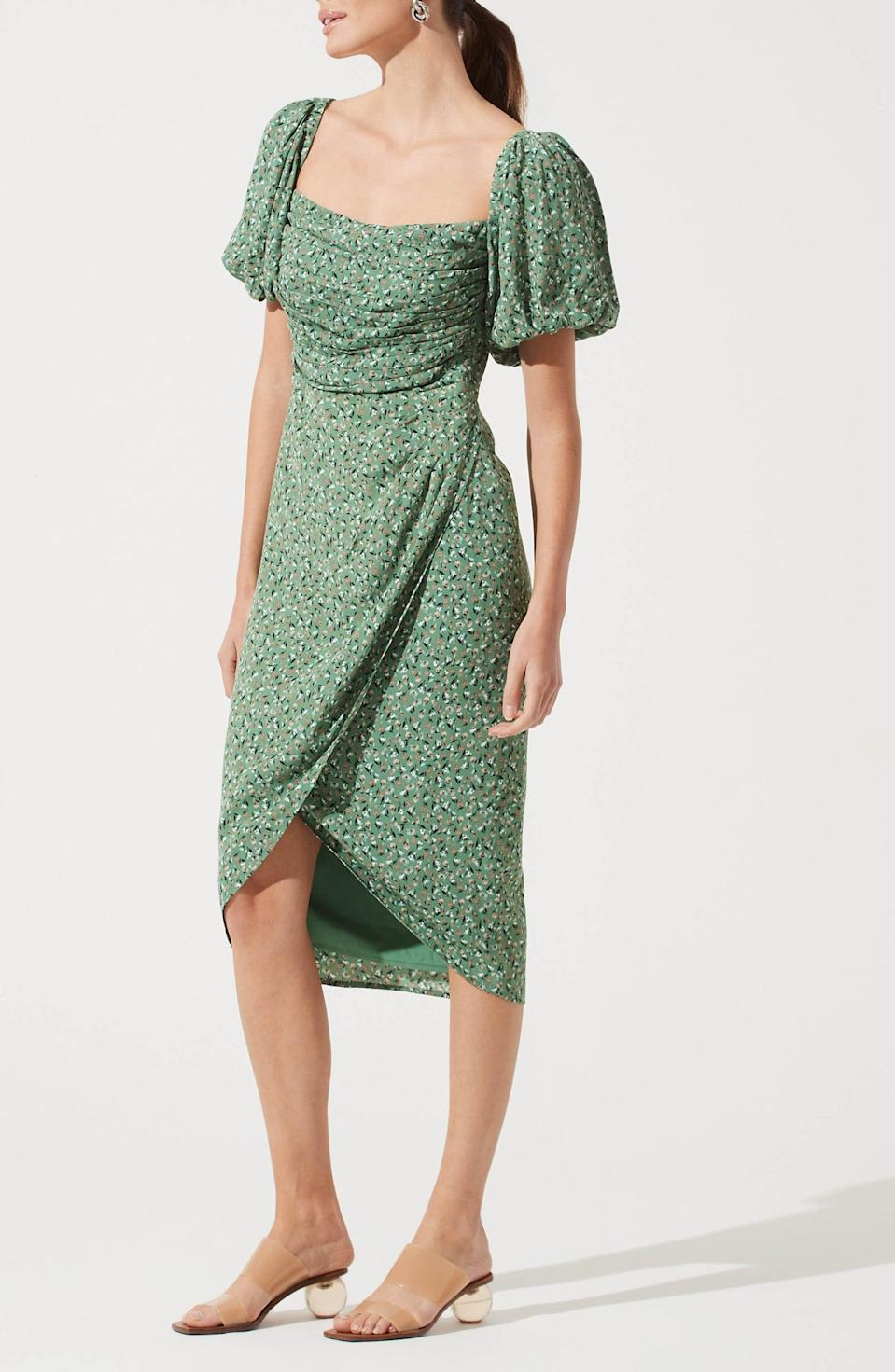 <p>Tap into the dramatic sleeve trend with this <span>ASTR the Label Square Neck Bubble Sleeve Dress</span> ($89).</p>