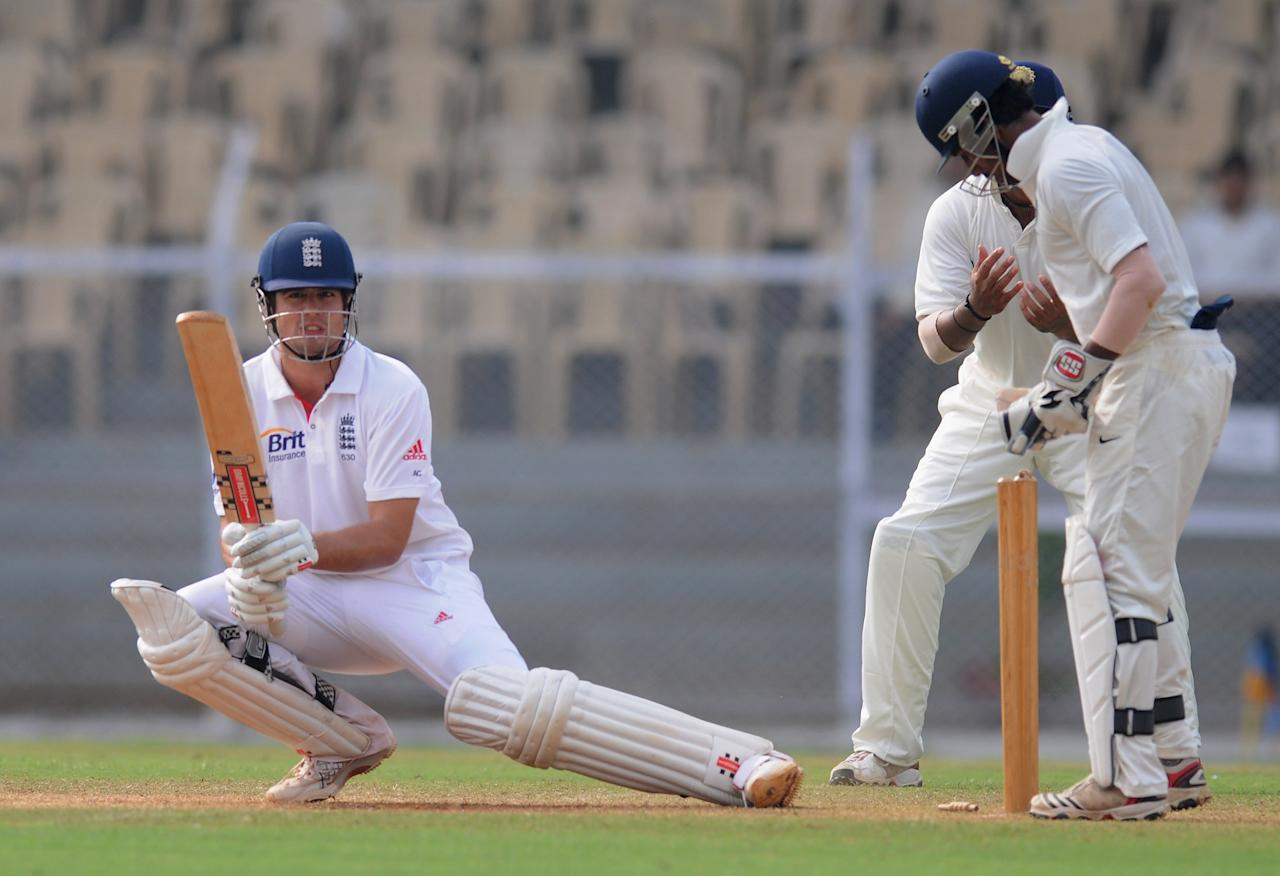 MUMBAI, INDIA - OCTOBER 31:  Alastair Cook of England bats during the second day of the first practice match between England and India 'A' at the CCI (Cricket Club of India) ground, on October 31, 2012 in Mumbai, India.  (Photo by Pal Pillai/Getty Images)