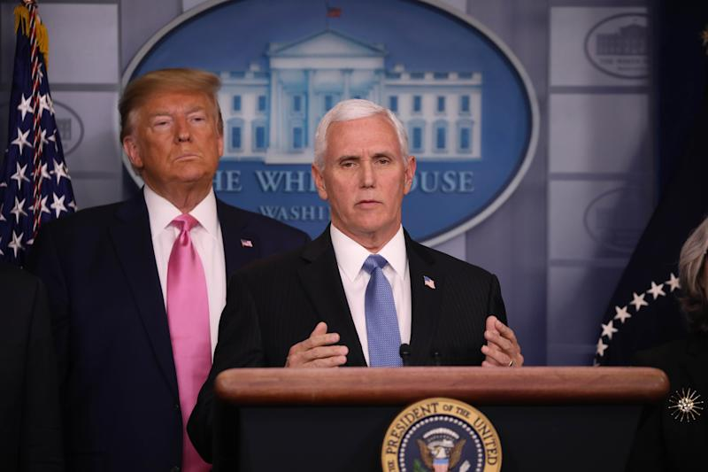 WASHINGTON DC, USA - FEBRUARY 26: U.S. Vice President Mike Pence makes a speech after U.S. President Donald Trump announced him to lead the effort combating the spread of the coronavirus during a press conference in Washington DC, United States on February 26, 2020. (Photo by Yasin Ozturk/Anadolu Agency via Getty Images)