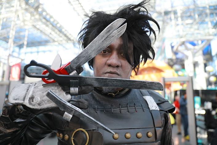 "Ishmael from New Jersey dressed as ""Edward Scissorhands"" attends the New York Comic Con 2019  at the Jacob Javits Center on Oct. 5, 2019 in New York City. (Photo: Gordon Donovan/Yahoo News)"
