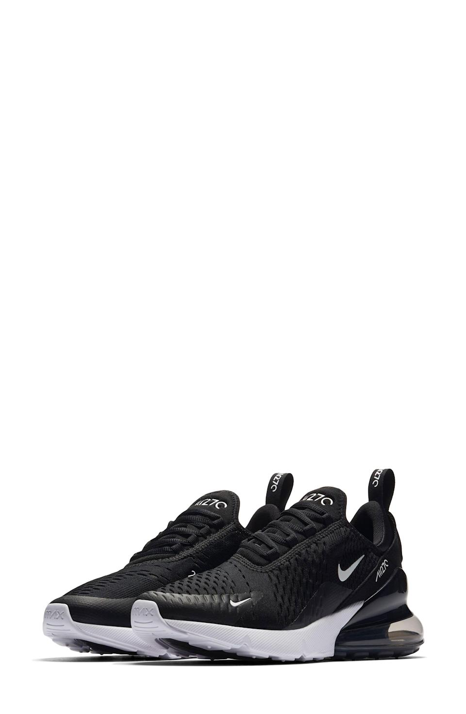 """<p><strong>NIKE</strong></p><p>nordstrom.com</p><p><strong>$150.00</strong></p><p><a href=""""https://go.redirectingat.com?id=74968X1596630&url=https%3A%2F%2Fwww.nordstrom.com%2Fs%2Fnike-air-max-270-premium-sneaker-women%2F4700177&sref=https%3A%2F%2Fwww.womenshealthmag.com%2Ffitness%2Fg36063460%2Fbest-black-sneakers%2F"""" rel=""""nofollow noopener"""" target=""""_blank"""" data-ylk=""""slk:Shop Now"""" class=""""link rapid-noclick-resp"""">Shop Now</a></p><p>Open-weave mesh meets flexibility for one of the comfiest sneakers on this list. The sock-like fit is perfect for any type of workout, whether you're considering a triathlon or want a good sneaker to pair with your Peloton workouts.</p>"""