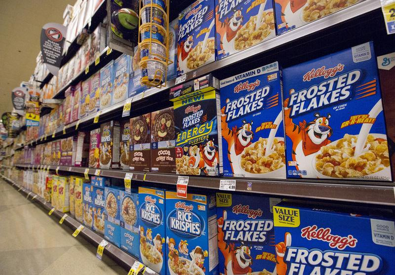FILE PHOTO: Various types of Kellogg's cereals are pictured at a Ralphs grocery store in Pasadena