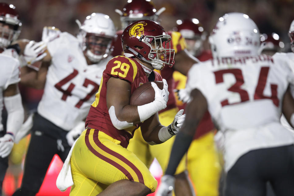 Southern California running back Vavae Malepeai heads for a touchdown during the first half of an NCAA college football game against Washington State, Friday, Sept. 21, 2018, in Los Angeles. (AP Photo/Jae C. Hong)