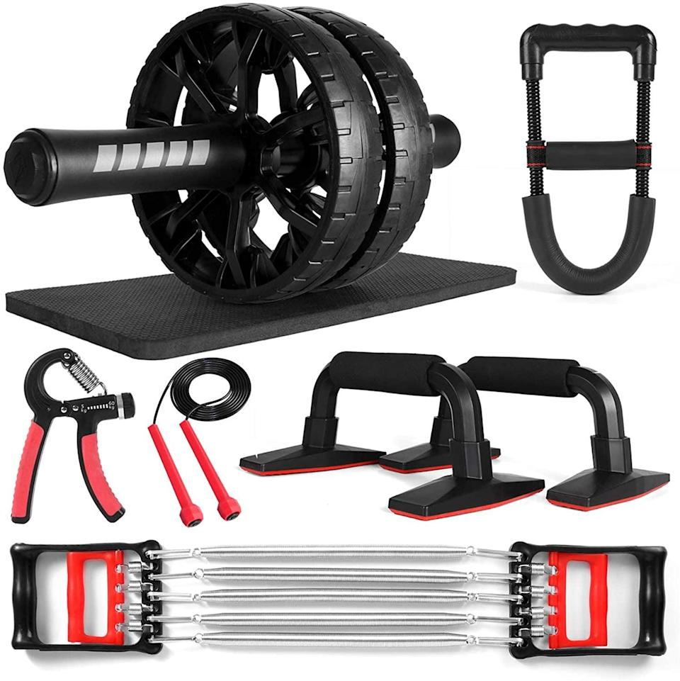 <p>Get in shape on a budget with this <span>Odoland 7-in-1 Ab Roller Set </span> ($24, originally $30). It comes with an ab Wheel, pushup bars, resistance exerciser, hand grip, jump rope, and knee pads. </p>