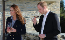 <p>During their three-week trip to Australia and New Zealand, the Duke and Duchess of Cambridge stopped by Amisfield Winery to sample wine on April 13 2014. <em>[Photo: Getty]</em> </p>