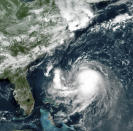 This GOES-16 East GeoColor satellite image taken Friday, Aug. 20, 2021, at 11:40 a.m. EDT., and provided by NOAA, shows Tropical Storm Henri in the Atlantic Ocean. Henri was expected to intensify into a hurricane by Saturday, the U.S. National Hurricane Center said. Impacts could be felt in New England states by Sunday, including on Cape Cod, which is teeming with tens of thousands of summer tourists. (NOAA via AP)