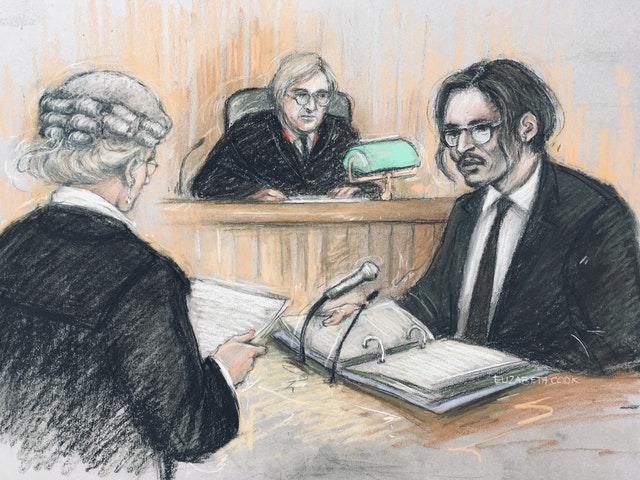 Johnny Depp, right, was being cross-examined by Sasha Wass QC, left