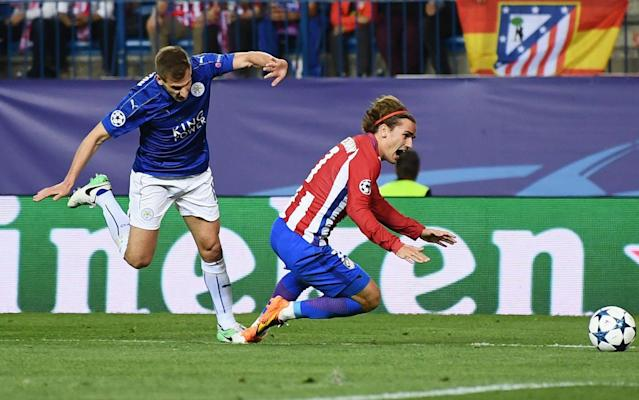 <span>Marc Albrighton clearly brought Griezmann down outside the penalty area</span> <span>Credit: GETTY IMAGES </span>