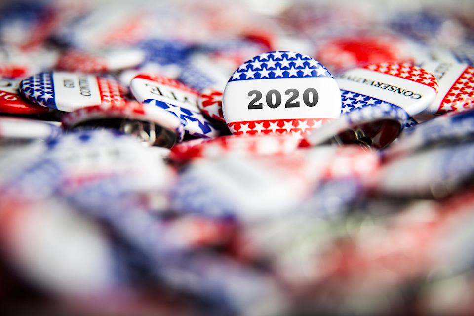 Closeup of election vote button with text that says 2020 (Photo: adamkaz via Getty Images)