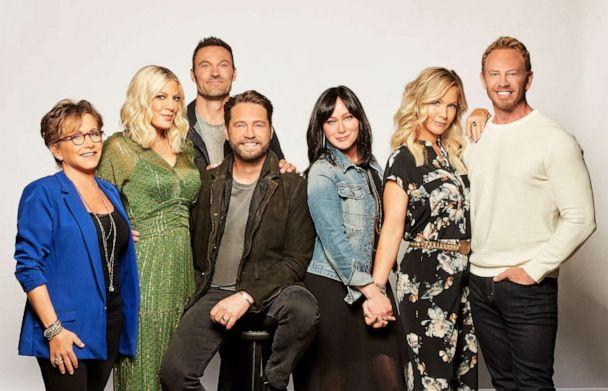PHOTO: Gabrielle Carteris, Tori Spelling, Brian Austin Green, Jason Priestley, Shannen Doherty, Jennie Garth and Ian Ziering. BH90210, the highly anticipated new six-episode event series, will premiere, Aug. 7, 2019. (FOX via Getty Images)