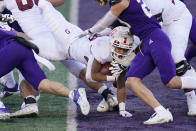 Stanford running back Austin Jones dives into the end zone for a three-yard touchdown run against Washington in the first half of an NCAA college football game Saturday, Dec. 5, 2020, in Seattle. (AP Photo/Elaine Thompson)