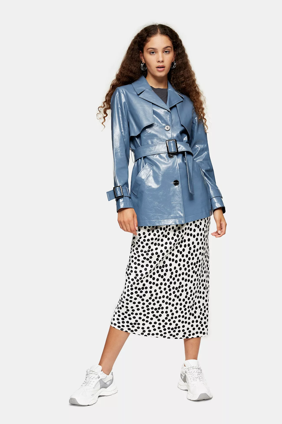 "<br><br><strong>Topshop</strong> Blue Vinyl Belted Shacket, $, available at <a href=""https://go.skimresources.com/?id=30283X879131&url=https%3A%2F%2Fus.topshop.com%2Fen%2Ftsus%2Fproduct%2Fdolly-vinyl-shacket-9692881"" rel=""nofollow noopener"" target=""_blank"" data-ylk=""slk:Topshop"" class=""link rapid-noclick-resp"">Topshop</a>"