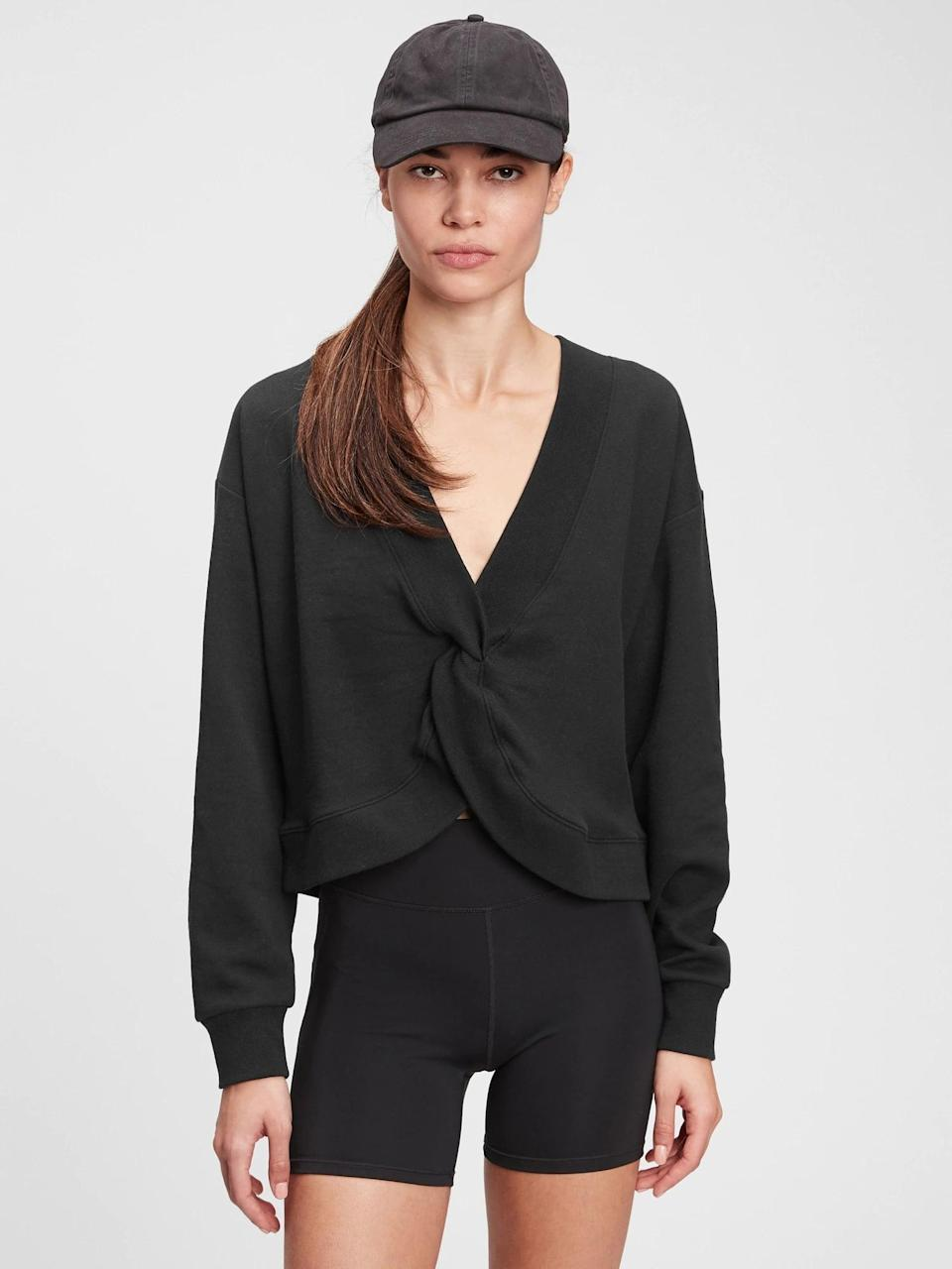 <p>This <span>Gap Reversible Twist Crewneck Sweatshirt</span> ($35, originally $55) can either be worn with this twist or with a classic crewneck silhouette in the front. We love the versatility.</p>