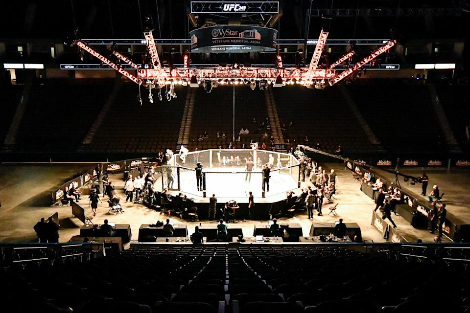 JACKSONVILLE, FL - MAY 09: General view of the stadium as Justin Gaethje of the United States climbs the cage after defeating Tony Ferguson of the United States in the Interim lightweight title fight during UFC 249 at VyStar Veterans Memorial Arena on May 9, 2020 in Jacksonville, Florida. (Photo by Douglas P. DeFelice/Getty Images)