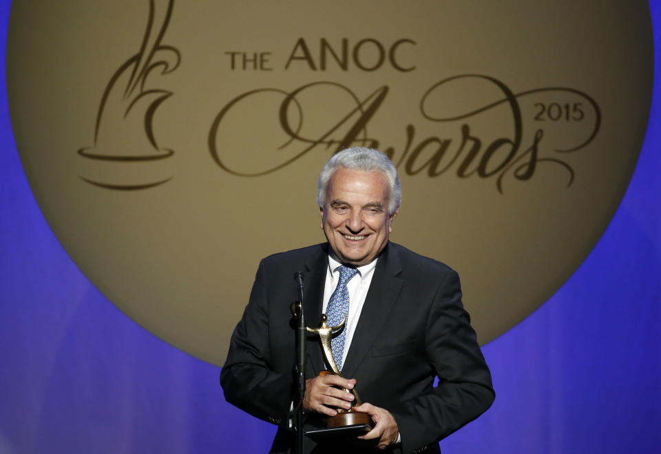 "FILE - In this Thursday, Oct. 29, 2015 filer, Francesco Ricci Bitti speaks after receiving the award for Outstanding Lifetime Achievement, during an Association of National Olympic Committees (ANOC) awards ceremony, in Washington. The IOC is adamant that the Tokyo Olympics will be held this year despite the pandemic. So, too, are Japanese organizers. Now hear it from the man who represents the international track and field, swimming and gymnastics federations as well as every other Summer Games sport. ""At the moment we're positive that the games will be held,"" said Francesco Ricci Bitti, president of the Association of Summer Olympic International Federations (ASOIF). (AP Photo/Alex Brandon, File)"