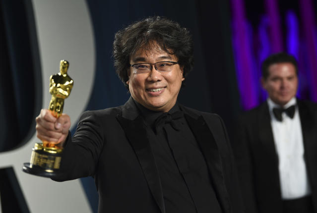 Bong Joon-ho, winner of the awards for best original screenplay, best international feature film, best directing, and best picture for Parasite (Credit: Evan Agostini/Invision/AP)