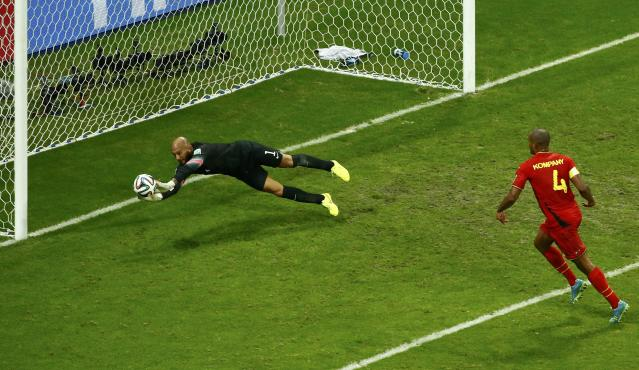Goalkeeper Tim Howard of the U.S. saves a shot during their 2014 World Cup round of 16 game against Belgium at the Fonte Nova arena in Salvador